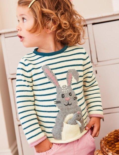 Bunny Pocket Knitted Sweater - Drummer Blue/Ecru Marl Bunny