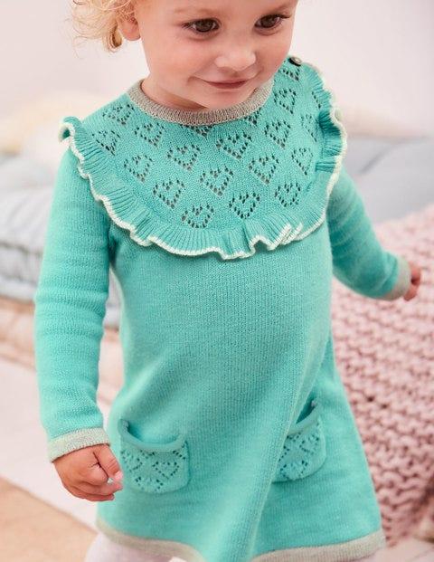 Frill Knitted Dress - Aquamarine Green