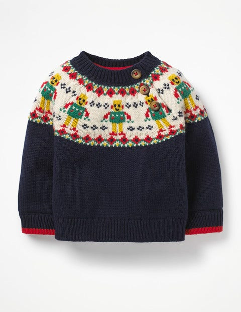 Fair Isle Sweater - Beacon Blue Robots