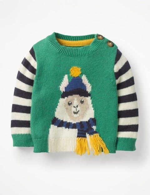 Fun Striped Sweater - Greenhouse Green Llama