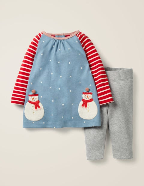 Appliqué Friends Dress Set - Boathouse Blue Snowmen