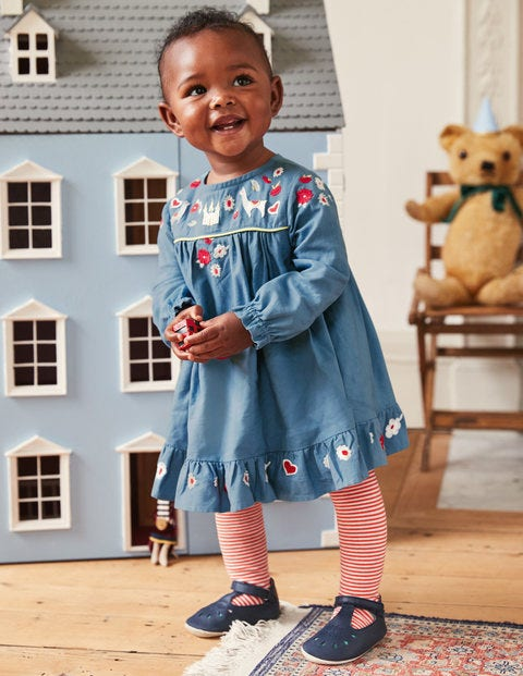 Embroidered Smock Dress - Azure Blue Embroidery