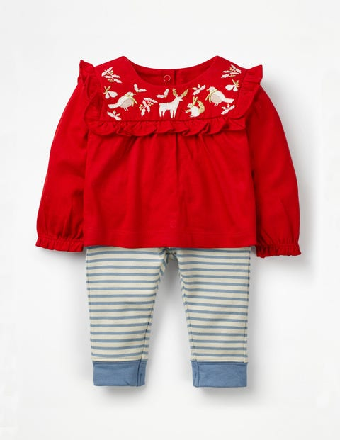 Printed Jersey Play Set - Polish Red Embroidery