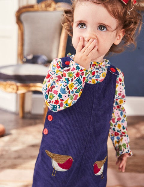 Fun Cord Overalls - Prussian Blue Robins