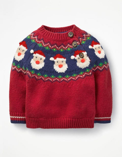 Fair Isle Sweater - Engine Red Father Christmas