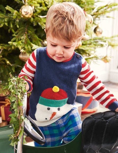 Fun Striped Jumper - Beacon Blue Snowman