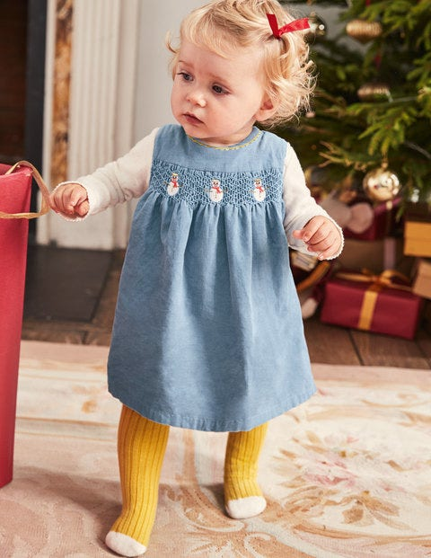 Festive Party Dress - Boathouse Blue Snowmen