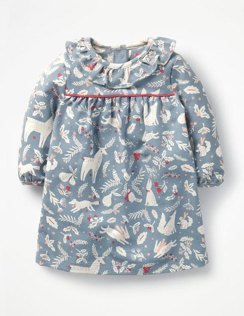Christmas Jersey Dress - Boathouse Blue Woodblock
