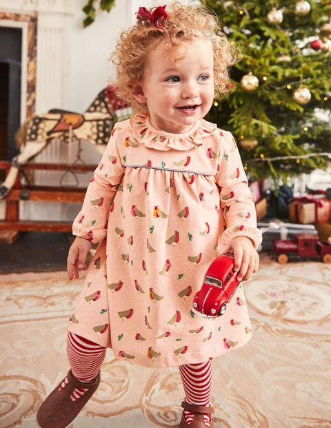 Christmas Jersey Dress - Provence Dusty Pink Robins