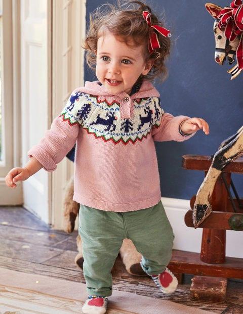 Reindeer Fair Isle Sweater - Vintage Pink Reindeer