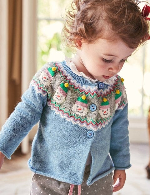 Festive Cardigan - Boathouse Blue Snowmen