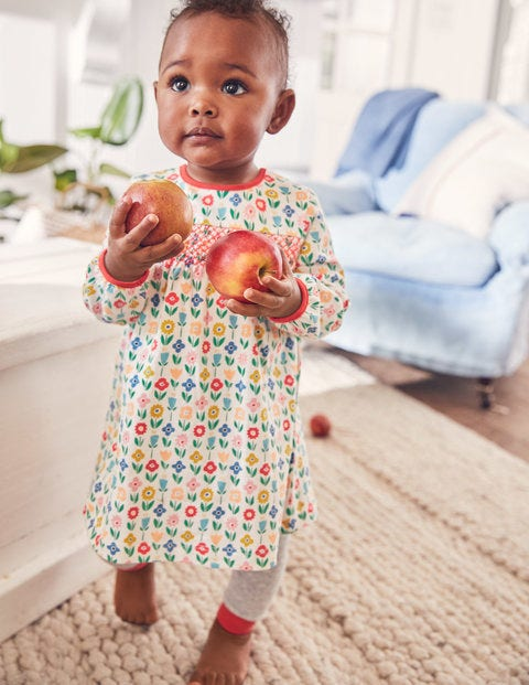 Smocked Jersey Dress - Multi Baby Flower Patch
