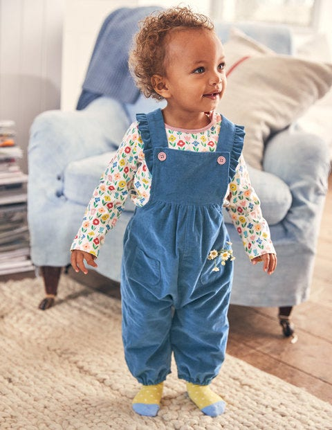 Frilly Overall Set - Multi Flower Patch