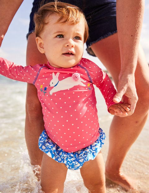 Two Piece Rash Guard Set - Brush Pink Spot