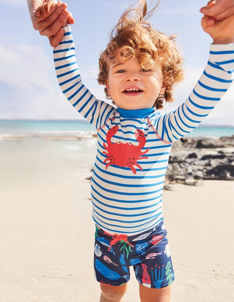 Rash Vest And Pant Set - Ivory/Pool Blue Crab