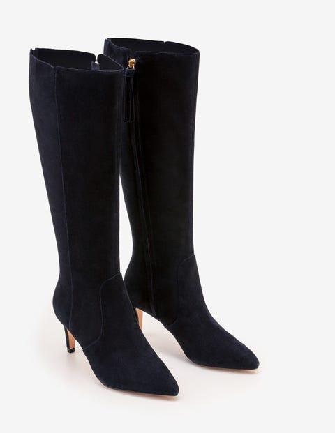 Ledbury Knee High Boots - Navy