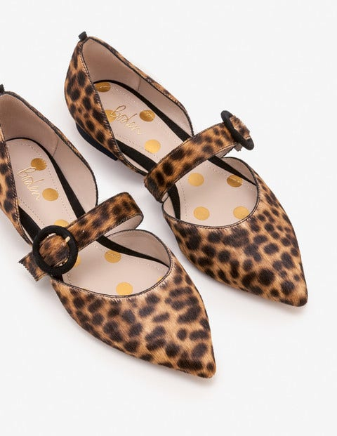 Evie Pointed Flats - Tan Leopard