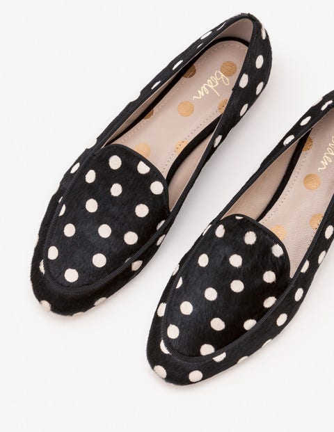 Imogen Loafers - Black and White Spot