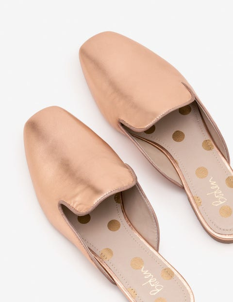 Poppy Backless Loafers - Rose Gold
