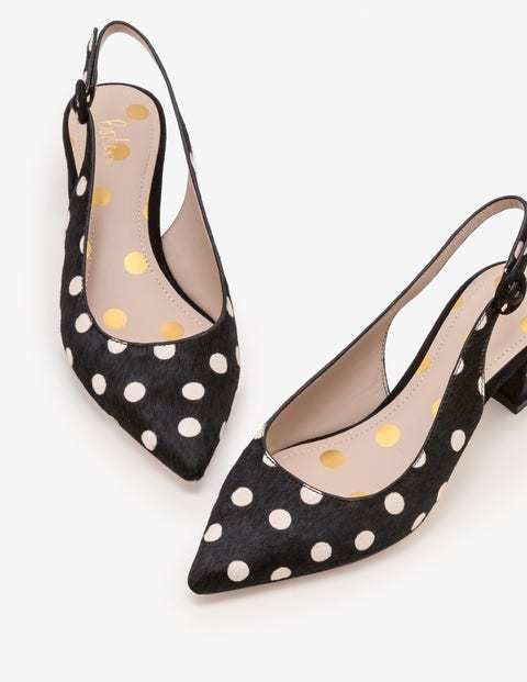 Annie Pointed Slingbacks - Black and White Spot