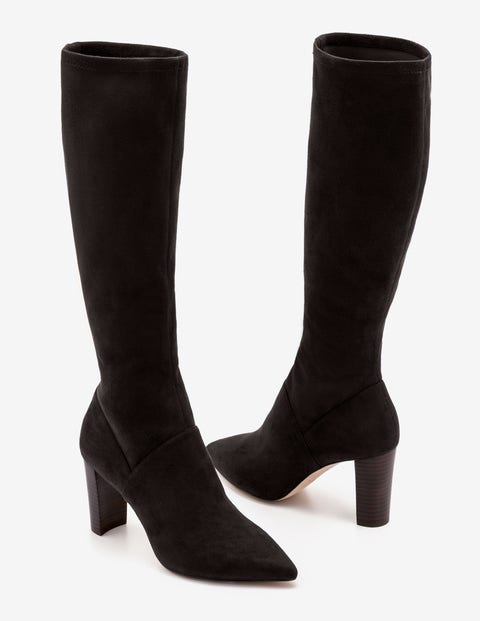 Pointed Stretch Boots - Black
