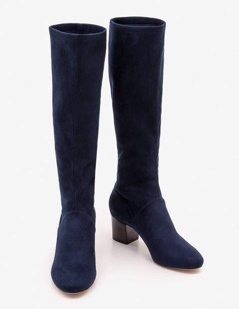 Round Toe Stretch Boots - Navy