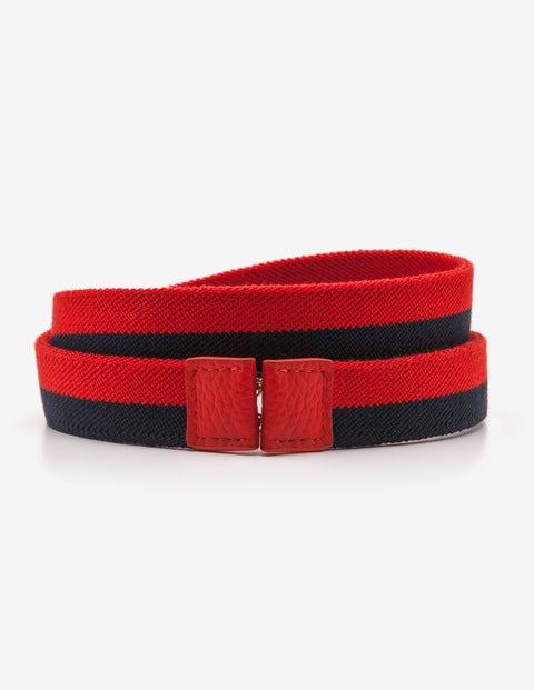 Elastic Waist Belt - Post Box Red and Navy Stripe