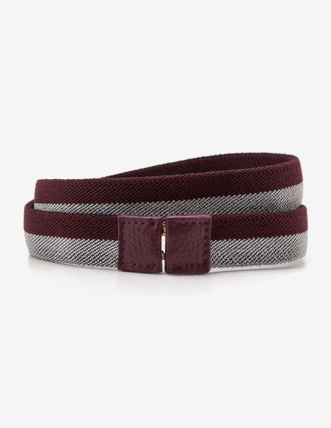 Elastic Waist Belt - Mulled Wine and Silver Stripe