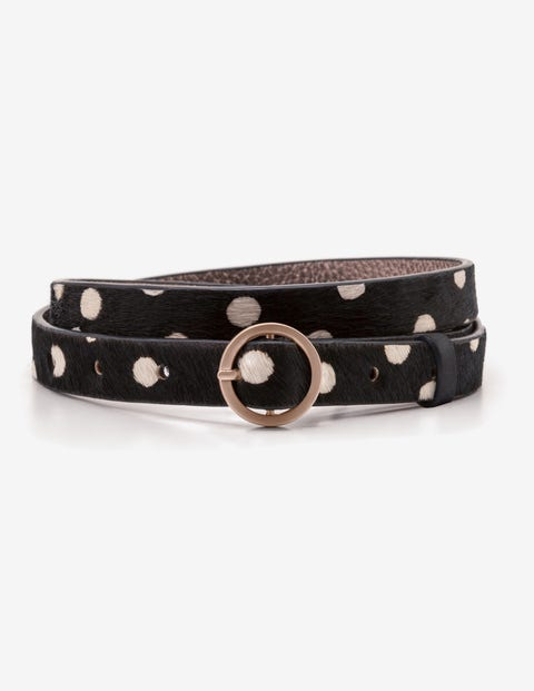 Skinny Waist Belt - Black and White Spot