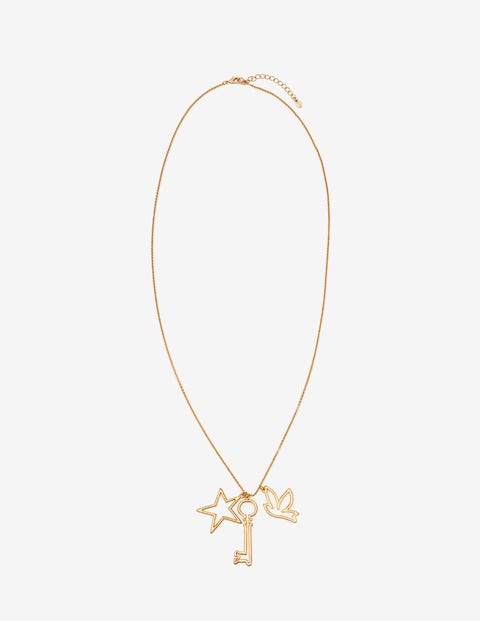 Charming Longline Pendant - Antique Gold Metallic