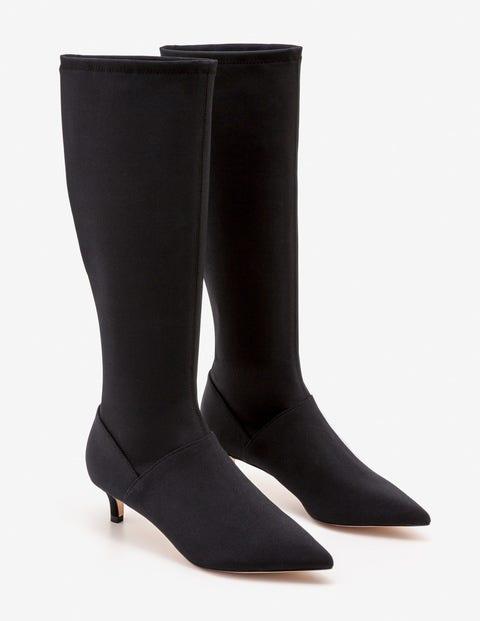 Kitten Heel Stretch Boots - Black