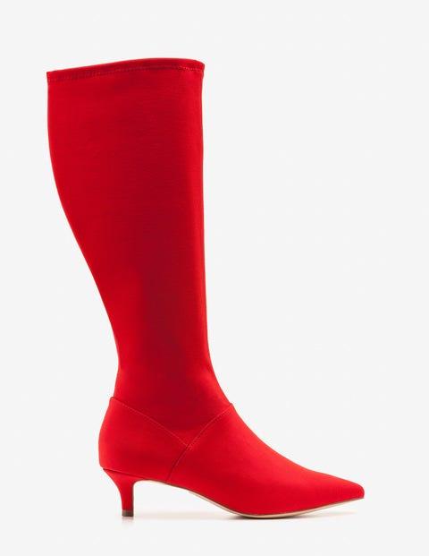 Kitten Heel Stretch Boots - Post Box Red