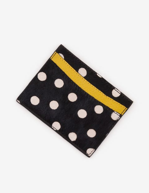 Leather Card Holder - Black and White Spot