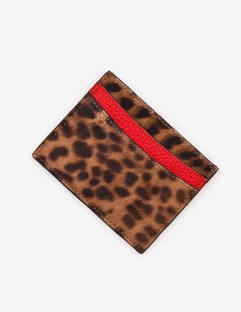 Leather Card Holder - Tan Leopard