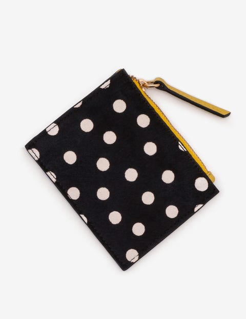 Leather Coin Purse - Black and White Spot