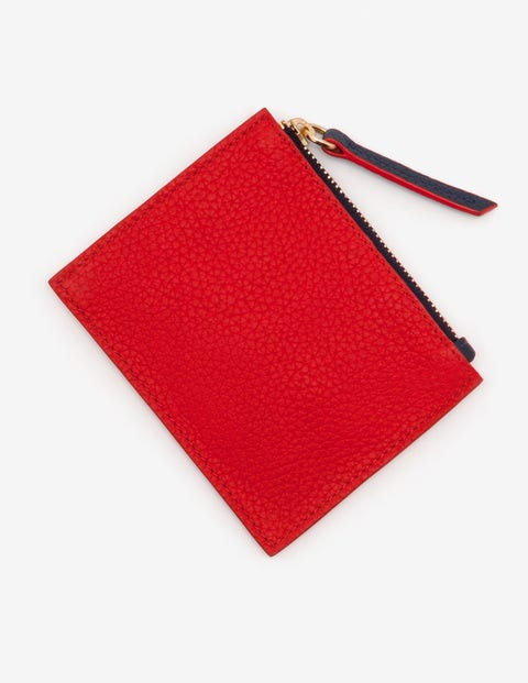 Leather Coin Purse - Post Box Red and Rose Gold
