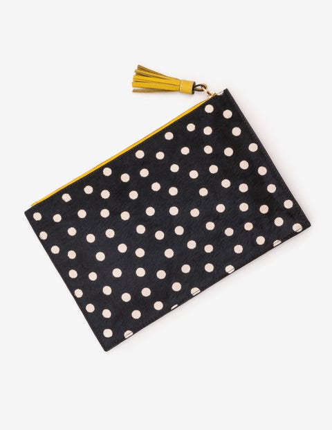 Large Leather Keepsake Pouch - Black and White Spot