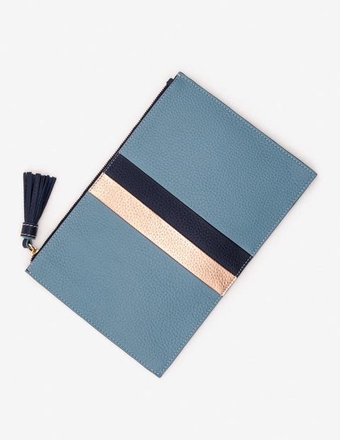 Large Leather Keepsake Pouch - Heritage Blue Stripe