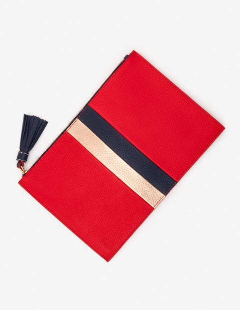 Large Leather Keepsake Pouch - Post Box Red Stripe