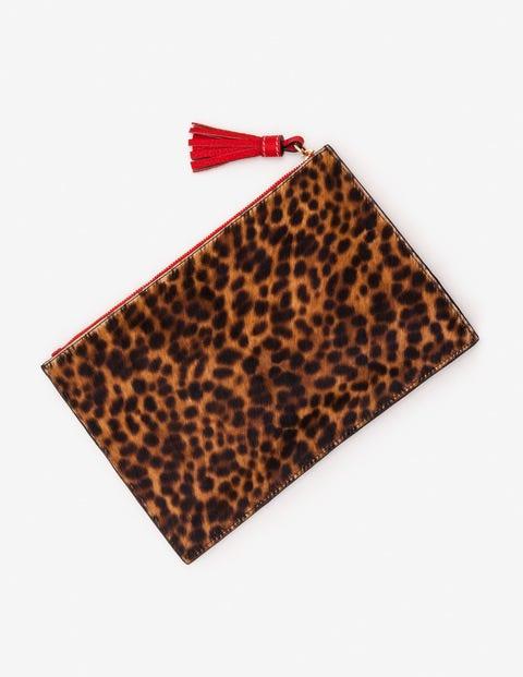 Large Leather Keepsake Pouch - Tan Leopard