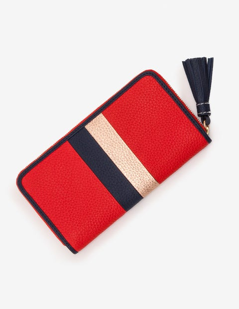 Leather Purse - Post Box Red Stripe