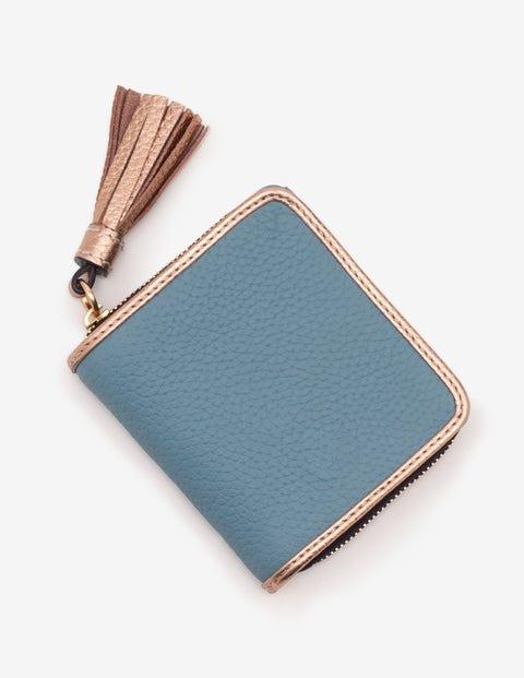 Leather Square Tassel Purse - Heritage Blue