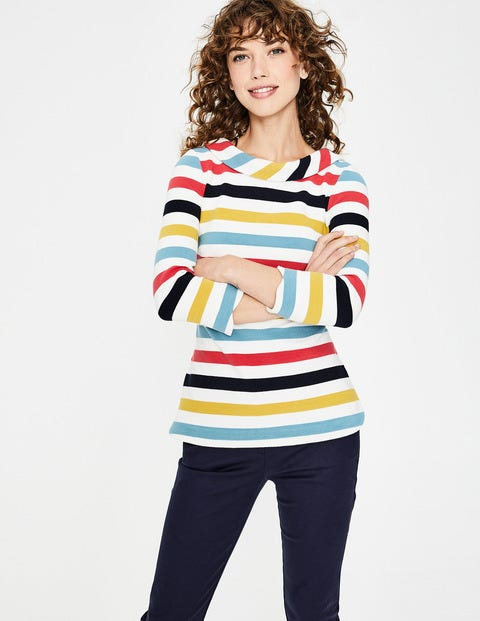 Sarah Ottoman Top - Multi Stripe
