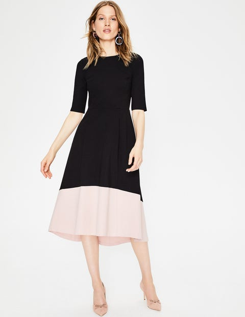 Wren Ponte Midi Dress - Black/Milkshake