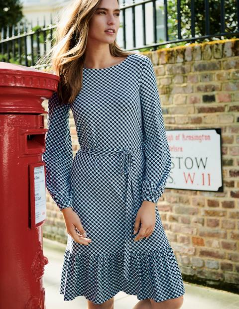 Holly Jersey Dress - Heritage Blue Trellis