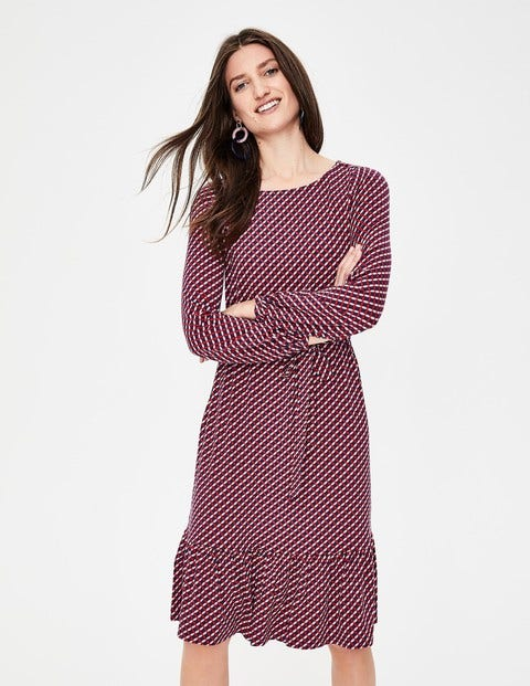 Holly Jersey-Kleid - Knallige Pfingstrose, Gitter