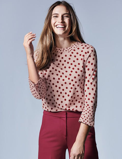 Althea Jersey Top - Milkshake Dotty Spot