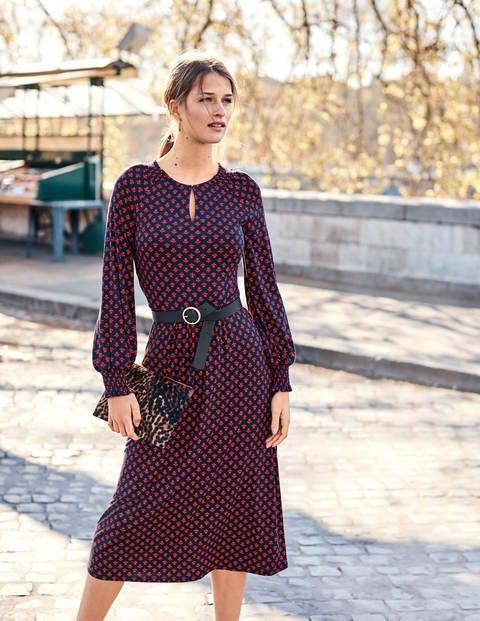 Eliza Jersey Midi Dress - Navy Bud