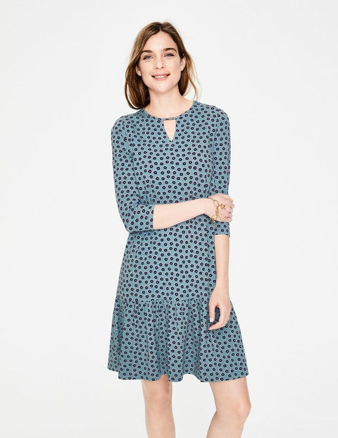 Selena Jersey Dress - Heritage Blue Daisy Duo