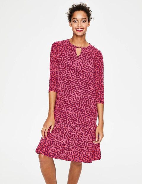 Selena Jerseykleid - Glühweinrot, Zweifarbige Gänseblümchen